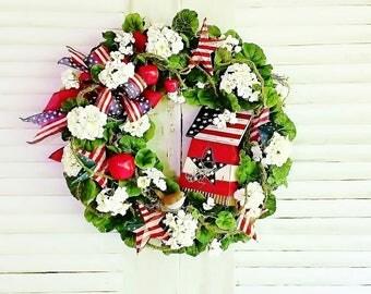 Americana Front Door Wreath, Patriotic Wreaths, Summer Wreaths, Front Door Wreaths, 4th of July Wreaths, Year Round Wreaths,            W305