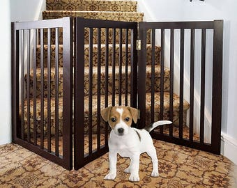 Wood Freestanding Pet Gate , 54-Inch, Espresso WSV815-540&002 ESP