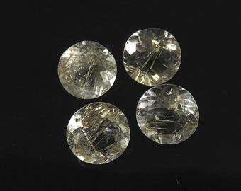 34Cts 14x14x8mm Golden Rutilated Quartz Faceted Cut Loose Gemstones Natural Top Quality Golden Rutilated Quartz Jewelry Making 4 Pieces Lot