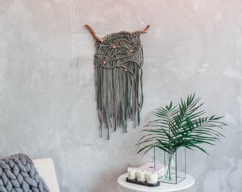 Summer Sale 30 Macrame Wall Hanging Sage Green Wall Decor Cotton Macrame