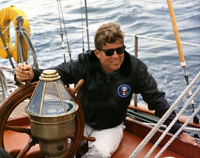 """President John F. Kennedy Sailing Off the Coast of Maine on the Yacht """"Manitou"""" - 5X7, 8X10 or 11X14 Photo (AA-884)"""