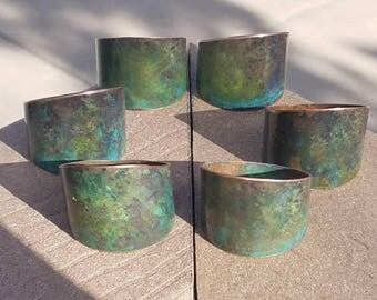 verdigris, patina copper 6 napkin rings, wedding gift, housewarming, painted napkin rings, anniversary gift, rustic wedding decor