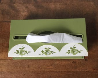 Vintage Tissue Box Holder, Vintage Plymouth Tole Tissue Holder, Retro Green Metal Tissue Dispenser