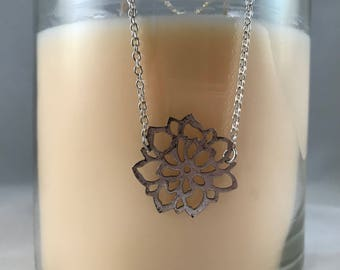 Silver Flower Necklace, Flower Necklace, Floral Necklace, Silver Flower Necklace