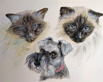 Custom Triple Pet Portrait, original watercolour painted from your photos, made to order