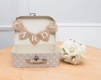Love Story Shabby Chic Hearts White Vintage WEDDING SUITCASE CARDS Box Bunting