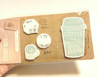 Coffee Sticky Note Daiso Post it Note Page Marker Planner Decoration Sticky Tab Cute Memo Pad Cafe Latte Coffee Cup Sticky Memo