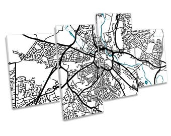 Derby UK Map City Minimalistic Modern Multi CANVAS ART Picture Print