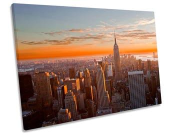New York City Orange Sunset CANVAS WALL ART Print Picture Box Framed