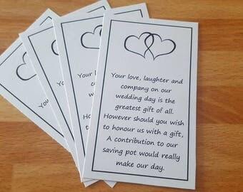 Wedding money favour card Heart design x 50