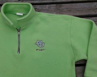Vintage 90's Bootleg FUBU Neon Fluorescent Green Polar Fleece Super Bright and Soft Pullover XL Made in Canada