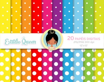 Polka dot brights digital paper, Scrapbook, Digital Paper