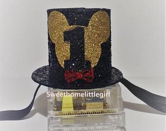 1st birthday,mini mouse,mini top hat,glitter hat,Black glitter,Rose gold glitter,elastic headband