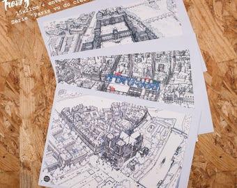 Lot de 3 Grandes cartes postales de Paris avec enveloppes, Batch of 3 Postcards of Paris, Cartes de voeux, Greetings cards