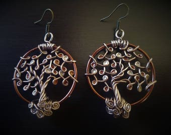 Copper Coloured Tree of Life Earrings