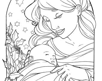 Holly Mother and Child Coloring Page