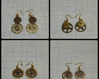 Steampunk earrings, mixed metal gears, gear earrings, Steampunk gear jewelry, gold ear wires, handmade, ear nuts included, four styles