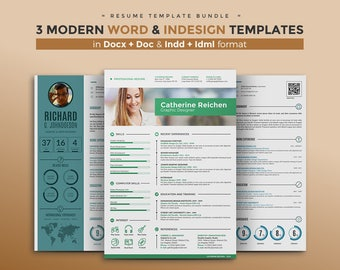 CV Template / Resume Template Bundle | 3 Best Curriculum Vitae Design + Cover Letter | MS Word and InDesign format | Tutorial Videos