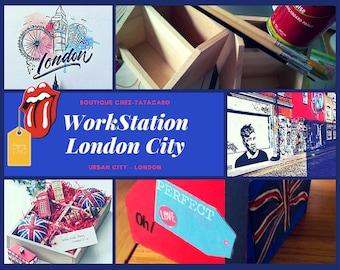 WorkStation Office London - Theme Urban City Red&Blue - Home Decor Handmade