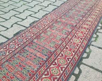 Area Rug - Velvet - Bohemian Rug - Kilim Rug - Best of Turkish Rug - Vintage Rug - Handmade Rug - Anatolian Rug /230 x 54 cm = 7,5 x 1,8 ft