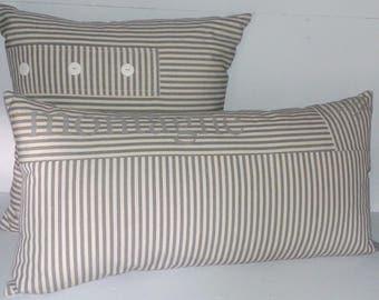 grey and beige striped cushion canvas 30 x 60