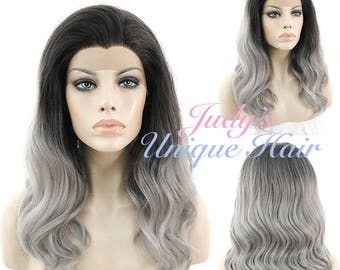 Medium Curly Grey with Dark Roots Lace Front Synthetic Hair Wig