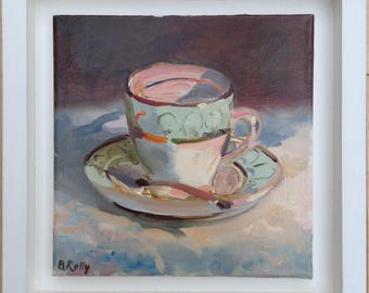 """Framed Oil Painting of an Antique Tea Cup and Saucer """"Time for Tea"""" by Barbara Kelly"""