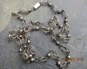 Vintage Maricela Tasco Taxco Mexican Sterling Silver Necklace 37 inches
