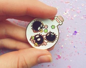 PREORDER ~SOOTPOTION hard enamel pin // Ghibli glitter pin