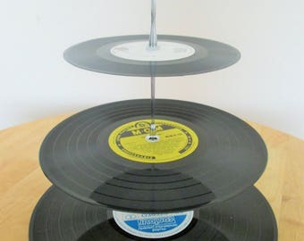 Record Cake Stand, Upcycled Records, Three tier Cake Stand, Vinyl Cake Stand, Cake Stand, Tea Party, Table Centrepiece, Recycled Records