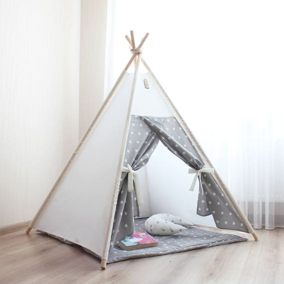 Like this item?  sc 1 st  Etsy & Teepee Kids teepee tent gray stars Childrens teepee Baby
