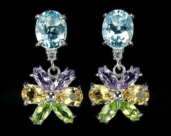 Gemstone Earrings, Multistone Earrings, Silver Floral Earrings, Geometric Earrings, August Birthstone, Nature Earrings, Bridal Earrings