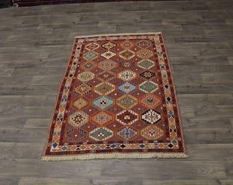 Amazing Design Handmade Sumak Bakhtiari Persian Area Rug Oriental Carpet 4ʹ3X6ʹ6