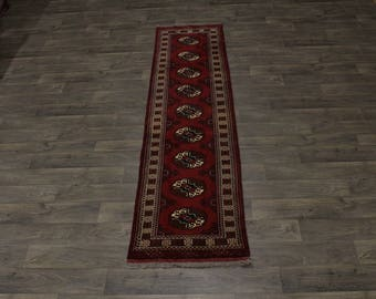 Excellent Runner Hand Knotted Turkoman Persian Area Rug Oriental Carpet 2ʹ5X10