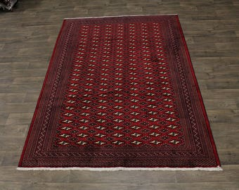 Captivating Handmade Tribal Turkoman Persian Area Rug Oriental Carpet 6ʹ6X9ʹ4