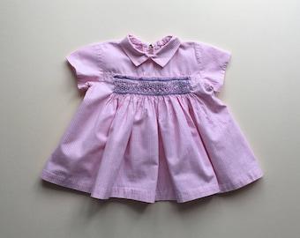 Pink gingham dress with smocks - 0/3m