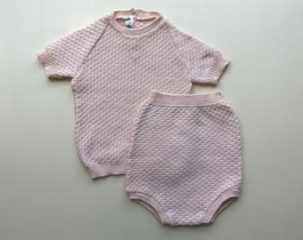 Light pink knitted set - 6/12m