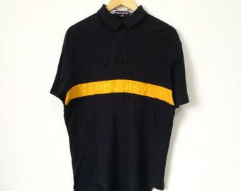 Rare! Polo Sport Ralph Lauren 167 Half Zipper Big Logo and Spell Out Polo Shirt Size Medium Celebrity Fashion Streetwear