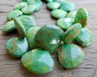 AAA Hard to Find Gorgeously Green Nevada Turquoise | Faceted Heart Briolettes |  11-14.7mm |  Sold in Singles, Matched Pairs & Trios
