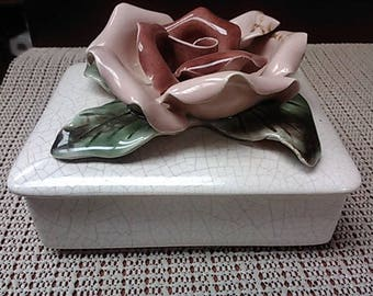 Red/Pink Rose ceramic box with lid by Capodimonte from the early 1900's