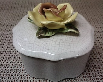 Yellow Rose ceramic box with lid by Capodimonte from the early 1900's