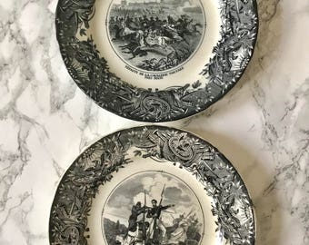 Vieillard & Johnston : suite of 3 plates in fine earthenware
