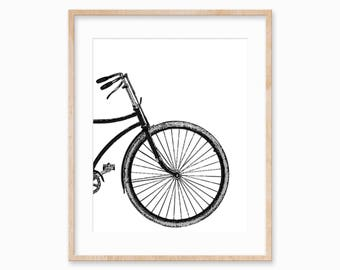 Bicycle Wall Art, Bicycle Print, Modern Prints, Wheel Print, Bicycle Art,