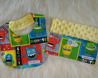 Burp cloth and baby bib, Flannel burp cloth and bib set, Monster gift set, Side hook bib