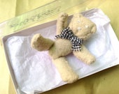 Handmade Miniature Teddy Bear with grey gingham necktie