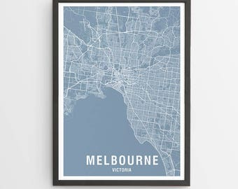 Melbourne Area Map Print - Various Colours / Australia / City Print / Australian Maps / Giclee Print / Poster
