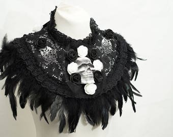 Black and white skull collar Cape with roses and feathers / black white skull collar Cape with lace and roses and feathers