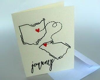Customized State Card - Farewell Card - Journey - Blank Card -  Hand Drawn & Written