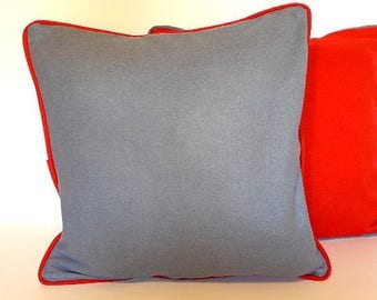 Grey Cushion cover front and Red back 40 x 40