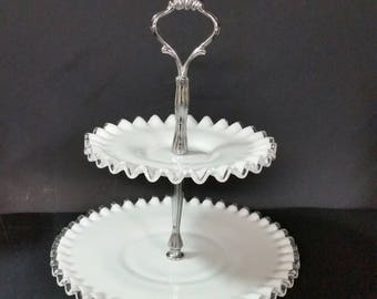 Silver crest tidbit tray,  Fenton Milk Glass.  2 tier